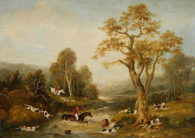 Dean Wolstenholme the Elder (British, 1757-1837) Country race meeting at the start; Sportsmen outside an Inn; Gone to ground; Crossing the river, a set of four each 25.5 x 37.5cm (10 1/16 x 14 3/4in), (4).