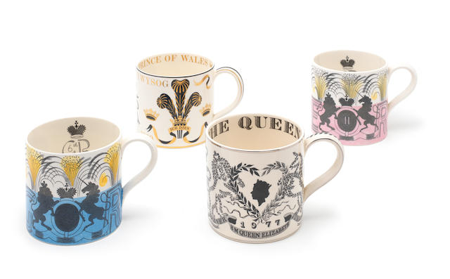 Eric Ravilious for Wedgwood Two Commemorative Mugs, 1937 and 1953