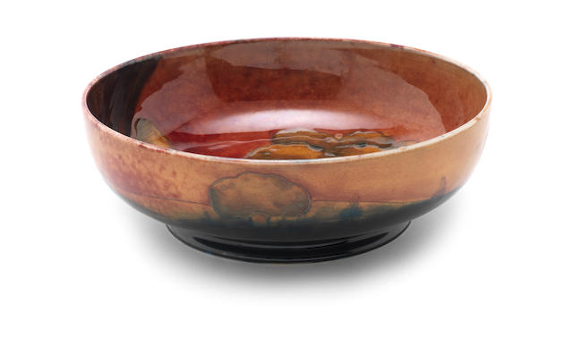 William De Morgan a Flambe Eventide Bowl, circa 1925