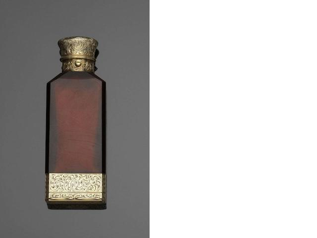 A Victorian silver-gilt mounted ruby glass combination scent flask and vinaigrette   by Sampson Mordan & Co, London 1873
