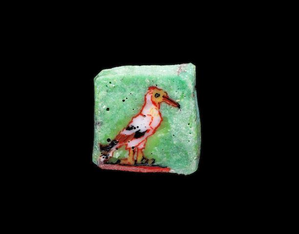 An Egyptian mosaic glass inlay of a bird