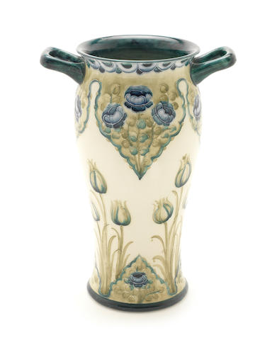 William Moorcroft for Townsend & Co. 'Tulips and Poppies' a Large Macintyre Twin-handled Vase, circa 1908