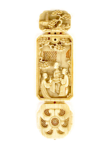 A Chinese ivory applique, 18th century