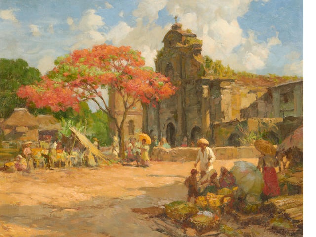 Fernando Cueto Amorsolo (Filipino, 1892-1972) Market place before a church