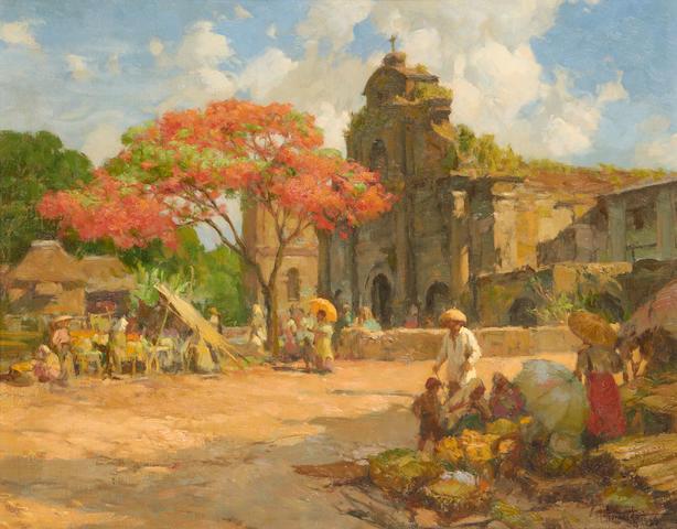 Fernando Cueto Amorsolo (Filipino, 1892-1972) Market place before a church