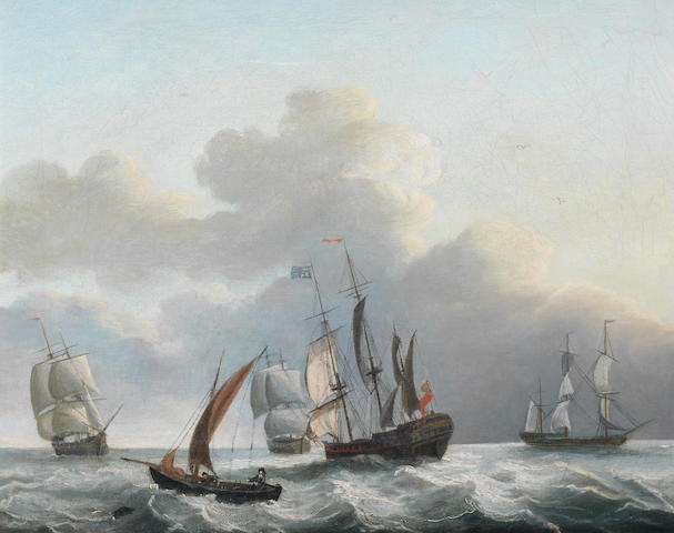 Manner of Jan Peeters Sailing ships and fishing smack in a squally sea, oil on canvas