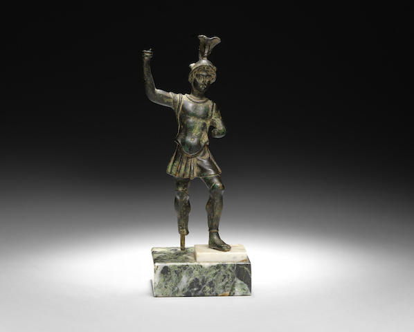 A Roman bronze figure of a warrior