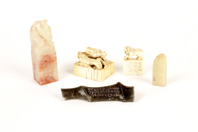 A group of two ivory and three soapstone seals, Qing dynasty