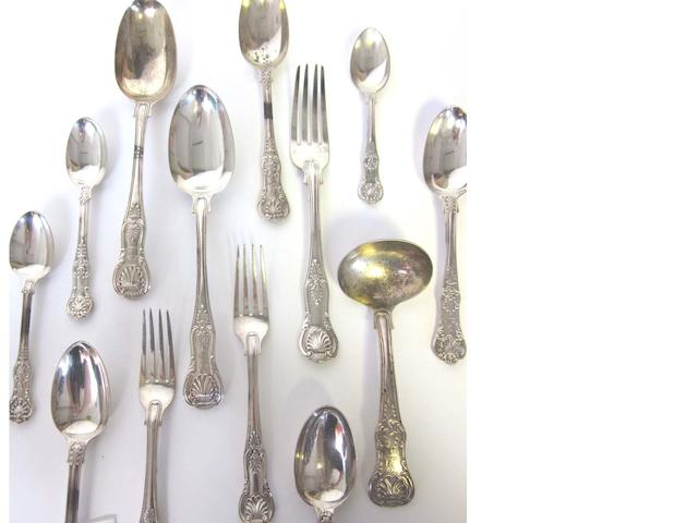 A  silver collected Queen's pattern flatware by George Adams London 1855 / 1863, King's pattern pieces, by George Adams London 1856, and other flatware