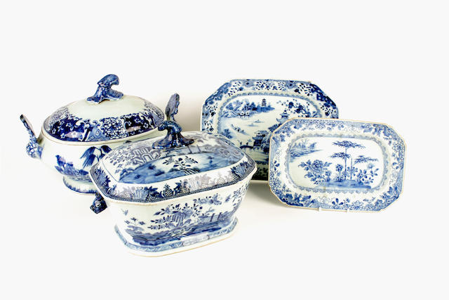 A collection of Chinese blue and white export tablewares, late 18th-19th century