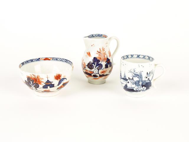 A Lowestoft sparrowbeak jug, a bowl and a cup