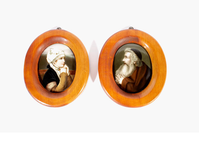 A pair of German porcelain oval plaques, circa 1860-70