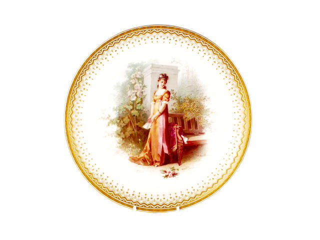 A Minton plate by Antonin Boullemier, dated 1872