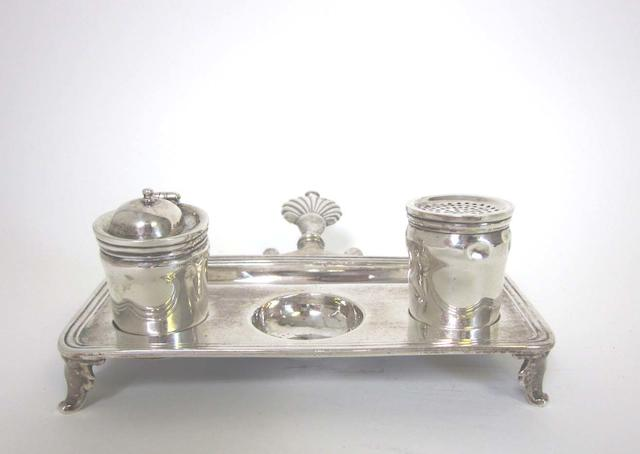 An 18th century style silver inkstand Apparently unmarked