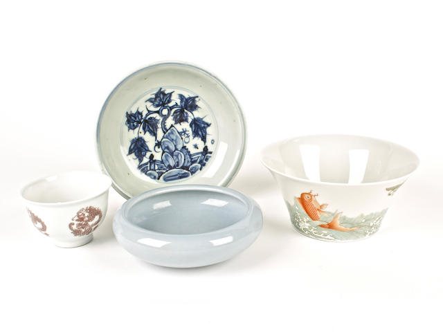 An underglaze-red medallion cup, an enamelled bowl, a blue-glazed brushwasher and a blue and white dish, bearing marks
