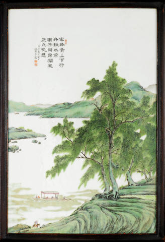 A famille rose rectangular plaque Cyclically dated jiwei year (AD1919), signed and sealed Wang Yeting