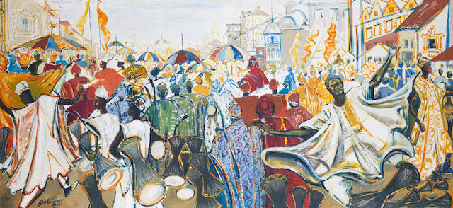 Ben (Benedict Chukwukadibia) Enwonwu, M.B.E (Nigerian, 1917-1994) The Durbar of Eid ul-Fitr, Kano, Nigeria