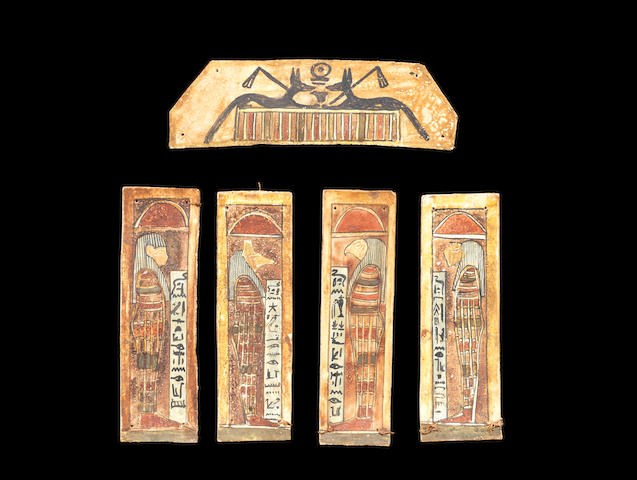 A set of five Egyptian funerary attachments for mummy wrappings 5