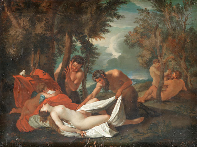 After Nicolas Poussin, 18th Century Venus surprised by satyrs