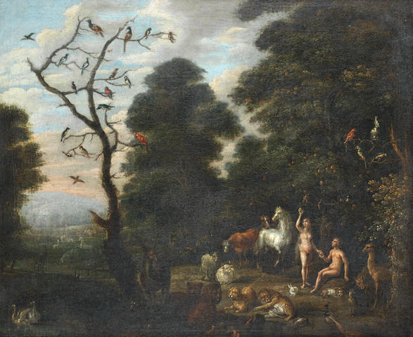 Circle of Jacob Bouttats (Antwerp active 1700) Adam and Eve in the Garden of Eden
