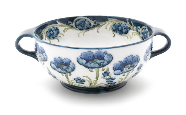 William Moorcroft 'Blue Poppy' a Florian Ware Twin-handled Bowl, circa 1904