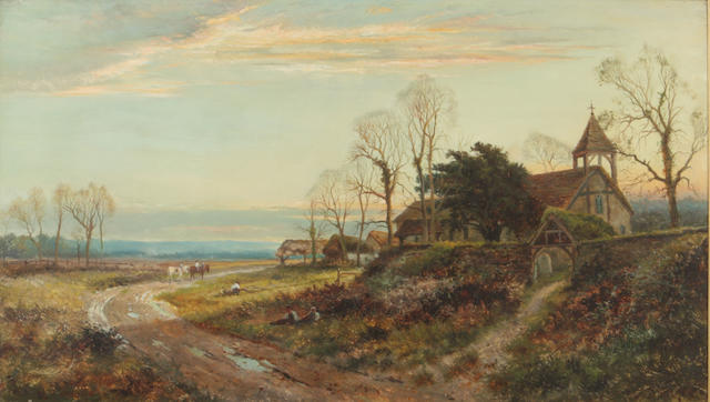 Daniel Sherrin (British, 1868-1940) An evening landscape