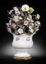 A Meissen vase mounted with flowers, circa 1746