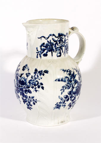 A large Worcester cabbage leaf jug, circa 1760-70