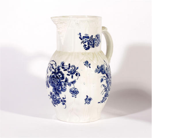A large Caughley cabbage leaf jug, circa 1770