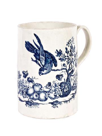 A Worcester large cylindrical mug, circa 1770-85