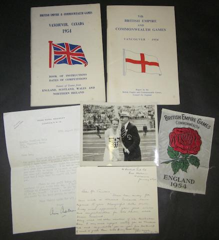 1954 Commonwealth games booklets, silk badge and ephemera