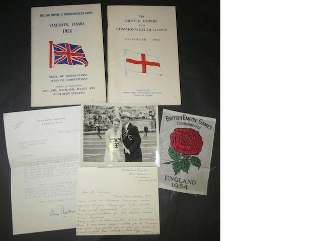 1954 Commonwealth games booklets, silk badge and ephemera