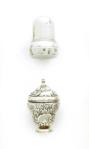 A George II silver acorn nutmeg grater maker's mark '?B', possibly by Henry Bennett, circa 1740  (2)