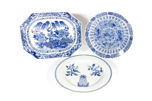Three blue and white dishes, Qing Dynasty