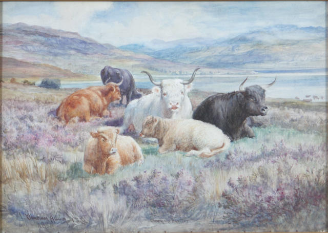 Joseph Denovan Adam, RSA RSW (British, 1842-1896) Cattle in heather