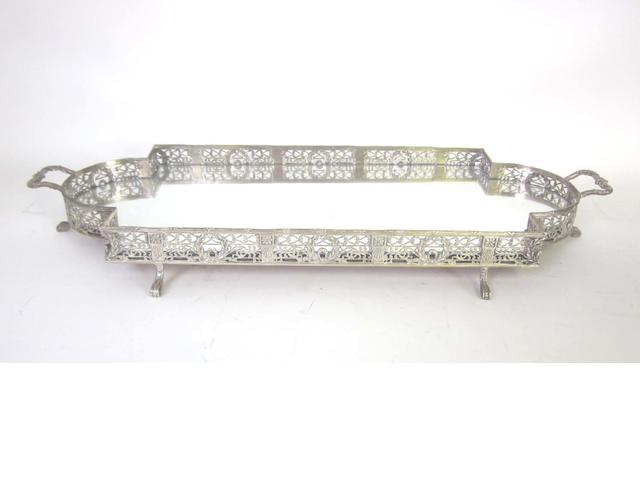 An electroplated rectangular gallery tray together with eight varying others (9)