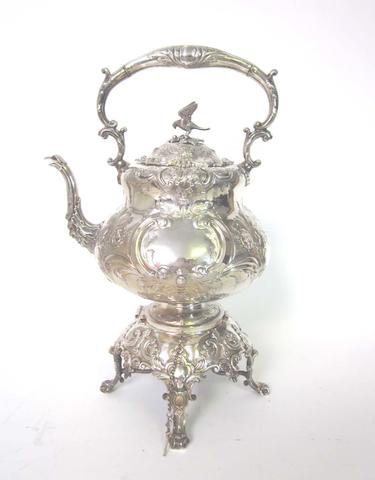 An electroplated four-piece tea and coffee service together with a kettle on stand by Martin Hall & Co and other electroplated items (Qty)