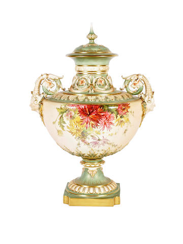 A large Royal Worcester blush ivory vase and cover, dated 1900