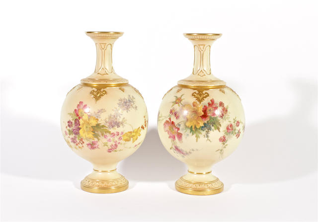 A pair of Royal Worcester blush ivory vases, dated 1898