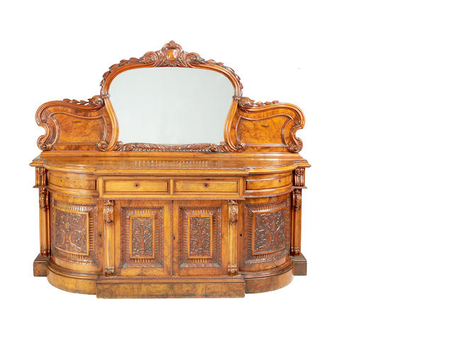 A large Victorian walnut breakfront chiffonier by Eadon and Son, Sheffield