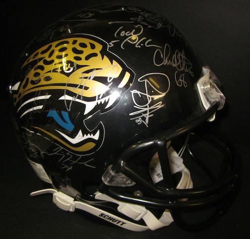 A 1996 Jacksonville Jaguars hand signed American football helmet