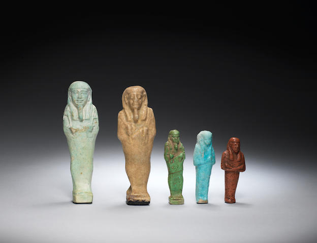 Five Egyptian glazed composition shabtis  5