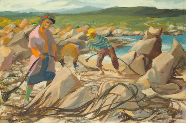 Marjorie Braidwood Wallace (Scottish, 1925-2005) Seaweed gatherers