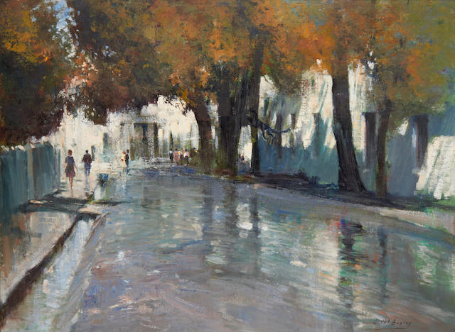 Errol Stephen Boyley (South African, 1918-2007) Rainy street, Stellenbosch