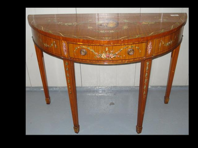 A Sheraton revival satinwood and painted demi-lune sidetable,