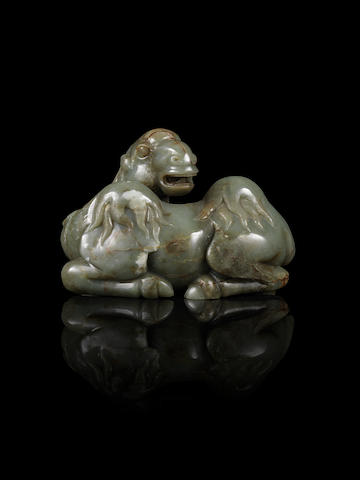 A grey jade carving of a Bactrian camel Qing Dynasty