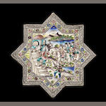 A large Qajar underglaze-painted moulded pottery Star Tile depicting a scene from Nizami's Haft Paykar Persia, 19th Century