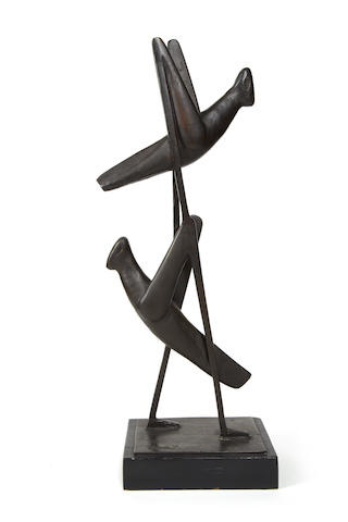 Gerard de Leeuw (South African, 1912-1985) Grasshoppers 72.5cm (28 9/16in) high (including base)