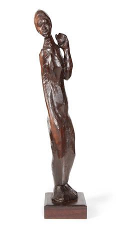 Michael Gagashe Zondi (South African, born 1926) Female figure 67cm (26 3/8in) high