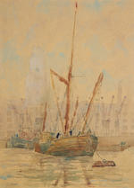 27 assorted drawing, prints and oil paintings including a set of three views of the Thames by J H Jerram